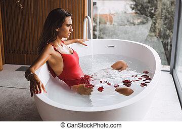 banheira, mulher, modernos, banho