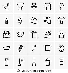 banheiro, ícones