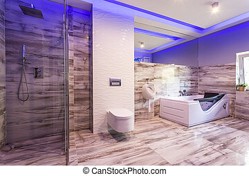 banheiro, azulejos, chuveiro, vidro, mármore, cabana