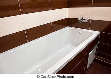 banheiro, banheira, branca, luxo
