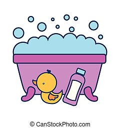 banheiro, banheira, shampoo, espuma, pato