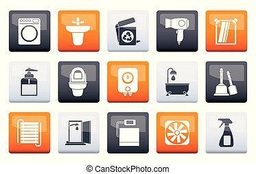 banheiro, banheiro, ícones, cor, sobre, objetos, fundo