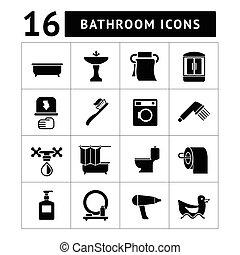 banheiro, banheiro, jogo, ícones