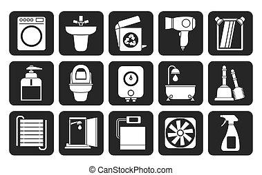 banheiro, banheiro, objetos, ícones