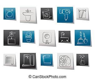 banheiro, banheiro, objetos