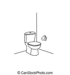 banheiro, banheiro, sala, furniture., interior, linha, sketch.