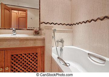 banheiro, com, banho, em, um, luxo, hotel.