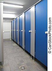 banheiro, corredor, portas, azul, padrão, indoor