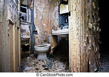 banheiro, deteriorar