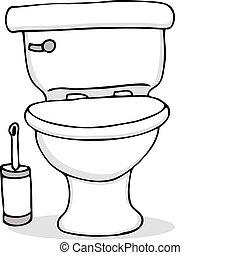 banheiro, e, escova limpeza