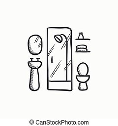 banheiro, esboço, icon.