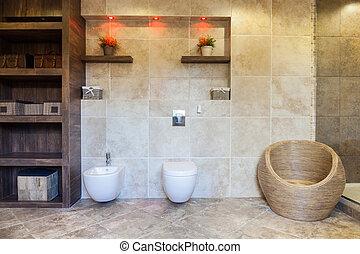banheiro, espaçoso, armário