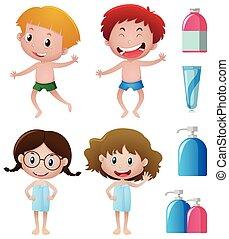 banheiro, feliz, acessórios, crianças
