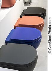 banheiro, fila, colorido, tigelas, novo