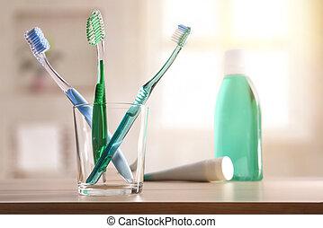 banheiro, geral, vidro, madeira, tabela, composição, toothbrushes