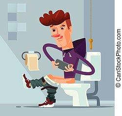 banheiro, hábito, desenho, sorrindo, rede, mídia, personagem, online, feliz, apartamento, smartphone, sentando, gadget., ilustração, jogo, caricatura, homem, gráfico, technology., móvel, restroom, dependência, vetorial, gamer, social, vício, tocando