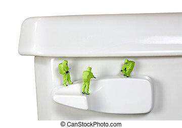 banheiro, hazmat, punho, equipe, inspeccionando, germes,...