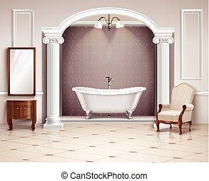 banheiro, interior, realístico, desenho