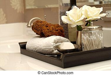 banheiro, itens, toiletries, banho, vários, vaidade