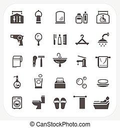 banheiro, jogo, ícones