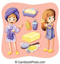 banheiro, jogo, bathrobe, mulheres