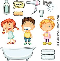 banheiro, jogo, crianças