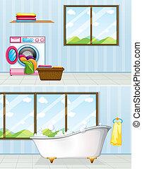 banheiro, lugar lavanderia