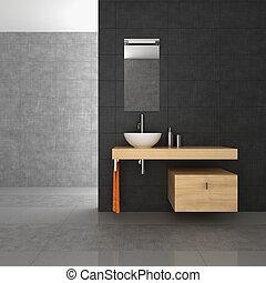 banheiro, madeira, ladrilhado, mobília