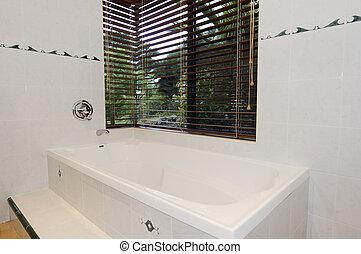 banheiro, modernos, azulejos, branca, Janela