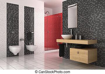 banheiro, modernos, azulejos, pretas, branco vermelho