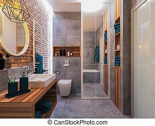 banheiro, modernos, desenho