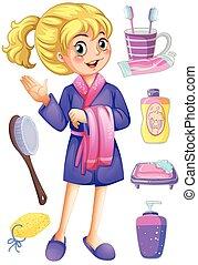 banheiro, mulher, jogo, bathrobe