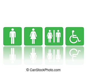 banheiro, mulher, sinais, homem