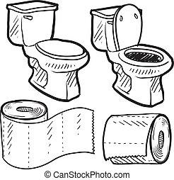 banheiro, objetos, esboço