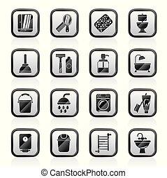 banheiro, objetos, higiene, ícones