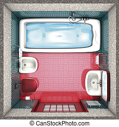 banheiro, topo, vermelho