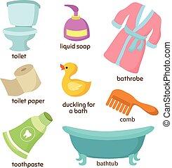 banheiro, vetorial, equipments., pia, banheira, caricatura, banheiro