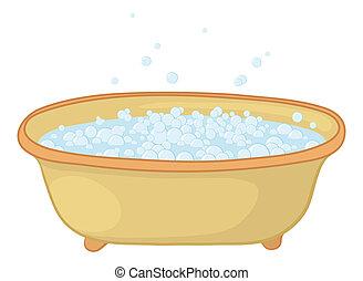 banho, com, bolhas
