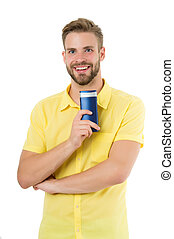 banho, cosmético, bodycare, cabelo, healthcare., tubo, isolado, saúde, sorrizo, homem, feliz, barbudo, shower., white., ter, gel, shampoo, skincare., grooming., barbershop, bottle., ou, cuidado