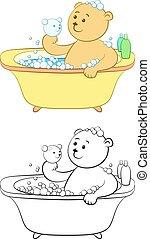 banho, lavagens, urso, pelúcia