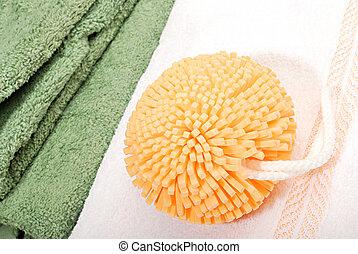 banho, sponge., natureza, relaxamento