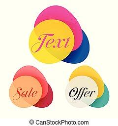 banieren, abstract, set, verkoop, kleurrijke