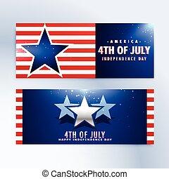 banieren, amerikaan onafhankelijkheid dag