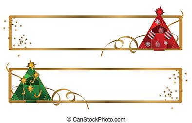 banieren, boompje, kerstmis