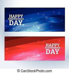 banieren, dag, onafhankelijkheid, vrolijke