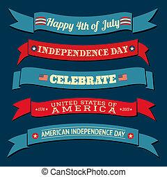 banieren, dag, verzameling, onafhankelijkheid