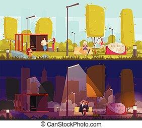 banieren, de stad van het park, dag, nacht