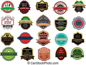 banieren, etiketten, ontwerp, detailhandel