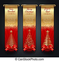 banieren, kerstmis, begroetenen