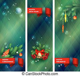banieren, kerstmis, verticaal, feestdagen